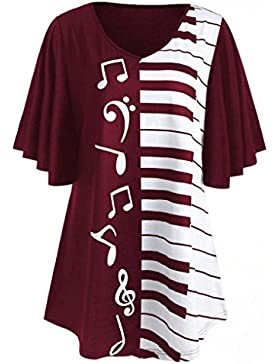 LILICAT® Camisetas Talla grande Mujer, Blusa Tops Mariposa + Nota musical Impreso, L,XL, 2XL,3XL,4XL,5XL, Blusa...