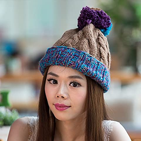 GAOYANQING Nuove palle di torsione per l'autunno/inverno curling lana lavorata a maglia casual ladies' Cap , khaki - All'uncinetto Palle