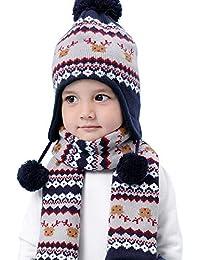 LAPLBEKE Baby Unisex Niños Niñas Gorra Punto Gorro con Pompom de Invierno  Bebé Invierno Earflap Tejer 9b65ee19220