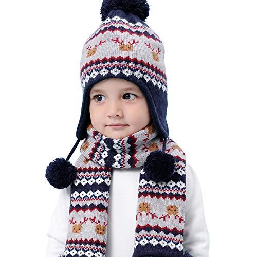 44f8a8027 LAPLBEKE Baby Unisex Niños Niñas Gorra Punto Gorro con Pompom de Invierno  Bebé Invierno Earflap Tejer