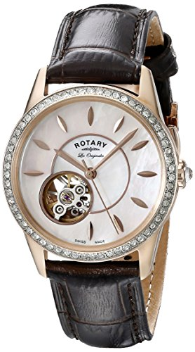 Rotary Women's Automatic Watch with Silver Dial Analogue Display and Brown Leather Strap ls90515/41