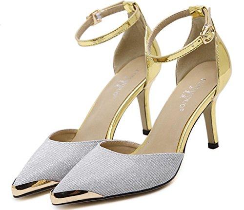 Da donna-Tacchi-Matrimonio / Serata e festa / Formale / Sportivo-Others / Comoda / Alla schiava-A stiletto-PU (Poliuretano)-Argento / Silver