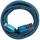 [PremiTroniX®] 0,5m | 50cm Premium Nylon USB Ladekabel Datenkabel kompatibel mit [Apple iPhone X/8/8 Plus/7/7 Plus/6S/6S Plus/6/6 Plus/5S/5C/5/SE, iPad 4/mini/mini 2, iPod touch (5. Gen.), iPod nano (7. Gen)] blau