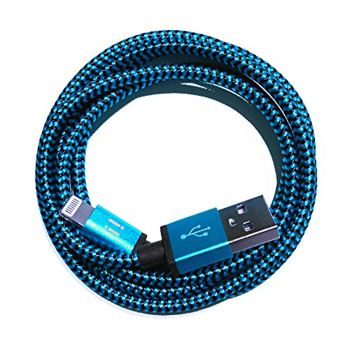[Premitech]® 1m Premium Nylon USB 8-Pin Ladekabel Datenkabel kompatibel mit [Apple iPhone X/8/8Plus/7/7Plus/6S/6SPlus/6/6Plus/5S/5C/5/SE | iPad 4/mini/mini 2 | iPod touch (5. Gen.) | iPod nano (7. Gen)] blau (Ipod-blau)