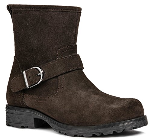 Geox J84A5B Olivia Stivali Modischer Mädchen Leder Stiefel, Biker Boot, Reißverschluss, Warm gefüttert, Atmungsaktiv Braun (DK Coffee), EU 33