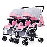 Guo@ Zwillings-Baby-Spaziergänger, doppelter Säuglingslaufkatze-abnehmbarer umschaltender leichter faltbarer Schiebegriff-justierbarer Kinderwagen (Farbe : Pink+gray)