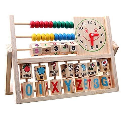 Spielzeug,WINWINTOM Kinder Baby Learning Developmental Versatile Flap Abacus Holzspielzeug