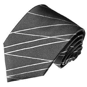 LORENZO CANA - Luxus Krawatte aus 100% Seide - Grau Silber Streifen Linien - 84187