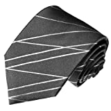 Lorenzo Cana Extra Lange Graue Anthrazit Marken Krawatte aus 100% Seide - XXL Schlips 165 cm lang - 8418799