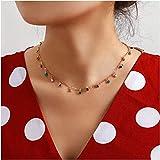 Collana girocollo da donna con cristalli per donne e ragazze, collana girocollo a catena con ciondolo a goccia con pietra pic