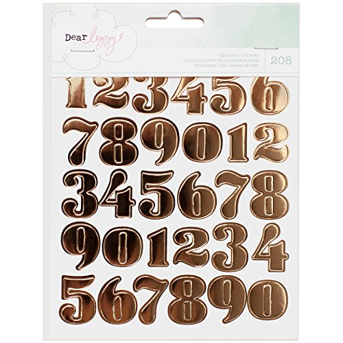 Dear Lizzy Fine & Dandy Sticker Book 6/Pages-Gold Foil Numbers,