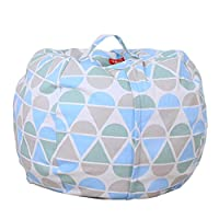 DIKEWANG Kids Stuffed Animal Plush Toy Storage Bean Bag Soft Pouch Stripe Fabric Chair,It Can Act As Cushion When Filled With Plush Toys,Clothing,Blankets,For Children Enjoy Storage Process (B)