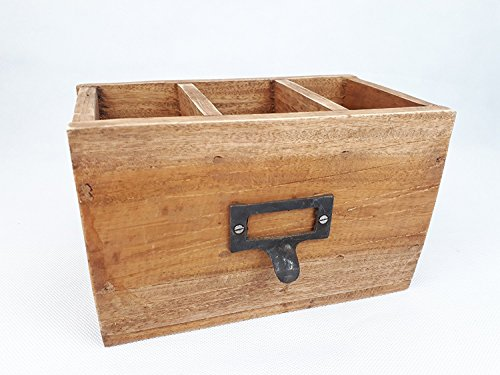 Holzschublade 3 Fächer Box Holzbox Holz-Antik-Look Shabby Vintage Wohndeko Wohnaccessoire...