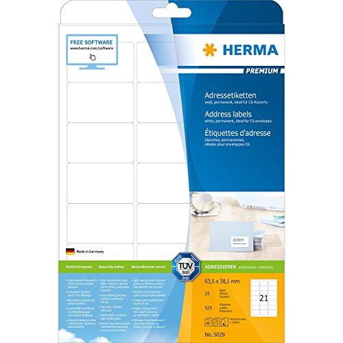 Preisvergleich Produktbild Herma 5029 Adressetiketten (Premium A4 Papier matt, 63,5 x 38,1 mm) 525 Stück weiß
