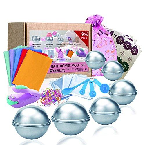 Swisselite Badebomben-Set, 3Größen,369-teilig, Bastelmaterial inklusive Form, Löffel, Taschen, Geschenktüten und Gummiband, Set für Ihre eigenen Badebomben
