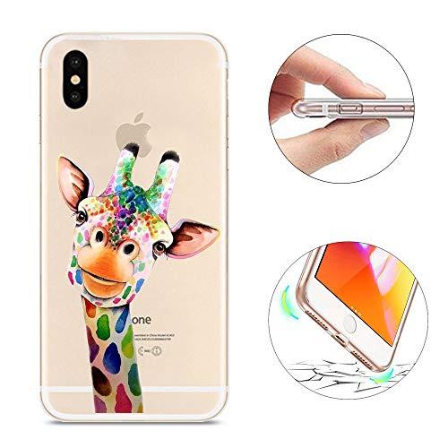 KeKeYM Für iPhone X iPhone XR Hülle, für iPhone XR Hülle Slim, Transparente Silikon Ultra Thin Weich Leichte Hülle Tiermuster für iPhone XR 6.1 Zoll - Bunte Giraffe