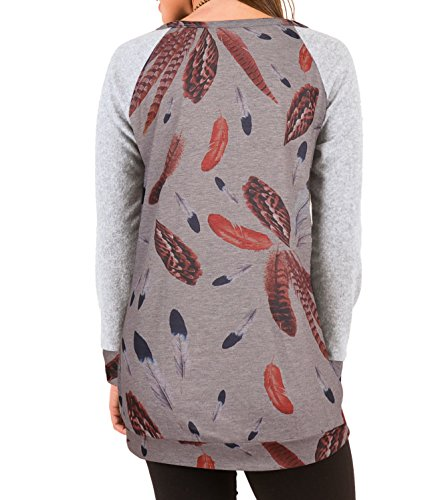Femme Printemps Automne Col Rond Plume Lmpression Tee T-Shirt Court Mini Robes Casual En Vrac Top à Manche Longue Long Sweats Pulls Chemisiers Haut Sweat-shirts Gris