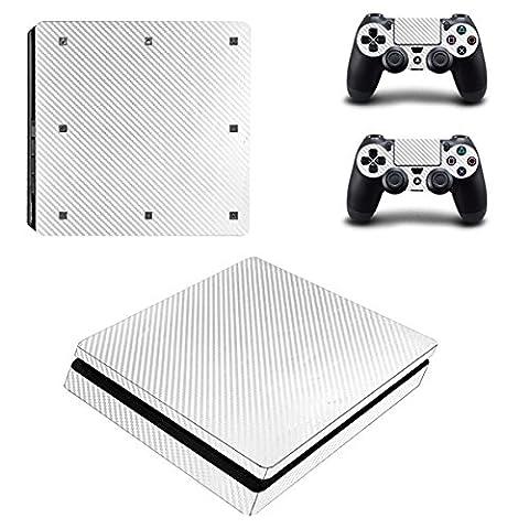 Morbuy PS4 Slim Skin Vinyl Autocollant Decal Sticker pour Playstation 4 Slim console + 2 Dualshock Manette Set (White Carbon Fiber)