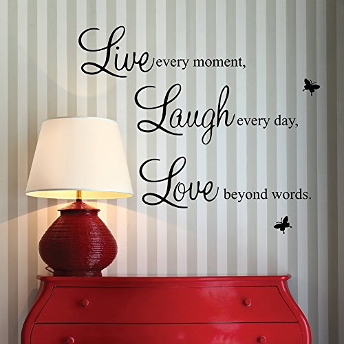 Live every moment,Laugh every day, Love beyond words. wall quote art sticker decal for home bedroom decor corp office wall saying mural wallpaper birthday gift for boys and girls by A-nicetop