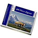 Media Storehouse 400 Piece Puzzle of Two cows with bells round their necks in Alpine scenery (14251555)