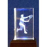 3D tennis inciso al laser di cristallo ornamento in confezione regalo da collezione regalo AWD