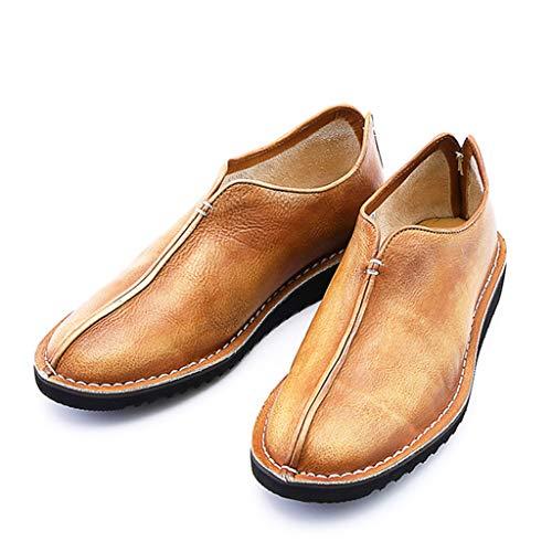 K-Flame Herren runde Kopf formelle Kleidung Schuhe Leder Vintage Freizeitschuhe EIN Pedal lässig faul Schuh für Büro im Freien Arbeiten,Brown,40 -