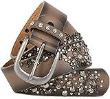 styleBREAKER Vintage Gürtel mit Nieten und Strass im 2-Tone Design, kürzbar, Damen 03010057, Farbe:Braun;Größe:90cm