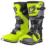 O'Neal Rider Boot MX Cross Stiefel Grau Gelb Hi-Viz Motorrad Enduro Motocross Offroad, 0329-9, Größe 42