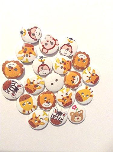 Paquete de 20botones con imágenes de animales caras. Estos botones son dos agujeros y ideal para los niños de artículos. Son aprox. 15mm con cintas de color blanco
