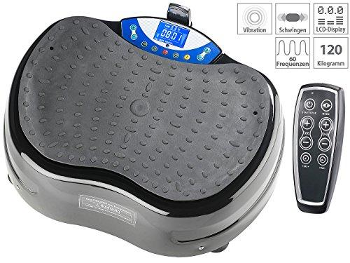 Newgen Medicals Vibratorplatte: 3D-Vibrationsplatte WBV-620.3D, Expander & Fernbedienung, bis 120 kg (Vibrationtrainer)