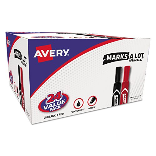 Permanent Markers, Regular Chisel Tip, Red, Black, 24/Pack