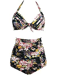 Gigileer Vintage 50's Rockabilly Damen Bademode Bikini Swimsuit - Floral - High Waisted - Bauchweg - Plus Size