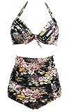 Gigileer 50's Rockabilly Damen Frauen Bademode Bikini Swimsuit High Waisted - Bauchweg - Plus Size Schwarz XXXL
