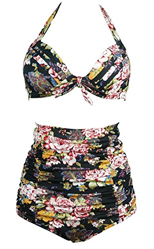 Gigileer 50's Rockabilly Damen Frauen Bademode Bikini Swimsuit High Waisted - Bauchweg - Plus Size Schwarz XXL