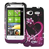 EMPIRE HTC Radar 4G Purple Hearts with Fleurss Caoutchouté Design Dur Case Étui...