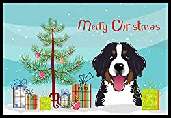 Carolines Treasures BB1609MAT Christmas Tree and Bernese Mountain Dog Indoor or Outdoor Mat, 18 x 27, Multicolor