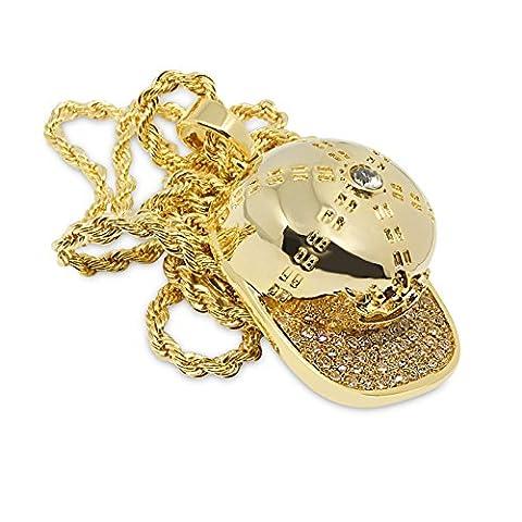 Premium 14K vergoldet Sportverschluss mit Kristallen Micro Hip Hop Bling Anhänger Kette Halskette