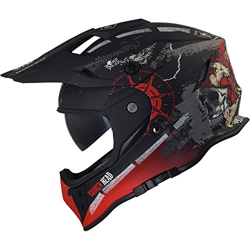 Broken Head Road Pirate Cross-Helm mit Visier | Endurohelm – MX Motocross Helm mit Sonnenblende – Quad-Helm Größe M (57-58 cm) - 6