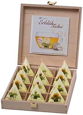 Teelini fleuri Creano, coffret Cadeau dans le thé boîte en bois – 12 fleurs de thé en format tasse - thé blanc, dans les saveurs pêche, vanille, citron et jasmin