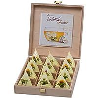Creano - Set de té blanco, aromatizado con flores naturales, caja de madera, 12 unidades