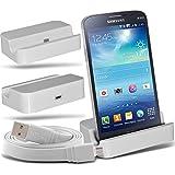 (White)Samsung Galaxy Grand 2 G7102 Micro USB de escritorio de carga del muelle del soporte Montaje y Micro USB del ordenador portátil / PC de sincronización de datos cable de carga By ONX3