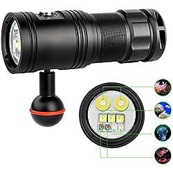 TrustFire DF30 Lampe torche pour caméra de plongée sous-marine 2350 lumens pour GoPro et autres exigences de performance lumineuse