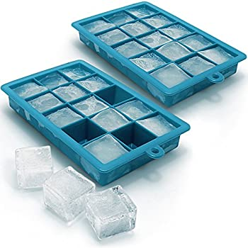 Transparent Levivo Soft Silicone Ice Cube Tray for Beverages or Cocktails 32 Cube Whiskey Squares Ice Moulds 27 x 14 x 2.9 cm Large