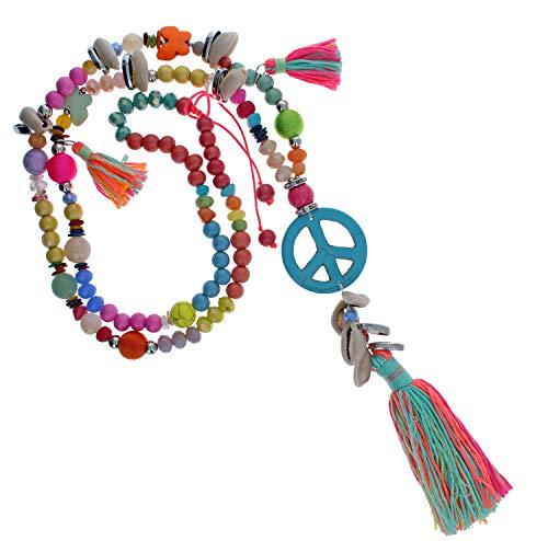 Ibiza Halskette Handmade Boho Hippie Kette Festival bunt natur neon Bommeln Fransen Muscheln Perlen IN65 (Peace bunt multi neon / 70cm) ()