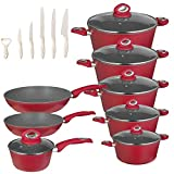 Chef's Star 20 Piece Cookware & Kitchen Knife Set - Nonstick Pots
