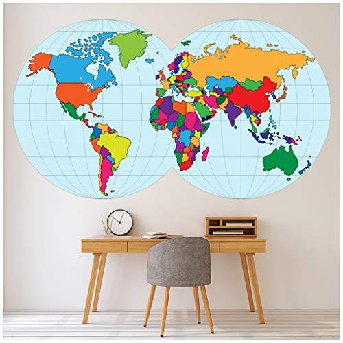 azutura Weltkarte Globus Wandtattoo Erhältlich in 8 Größen XXX-Groß Digital