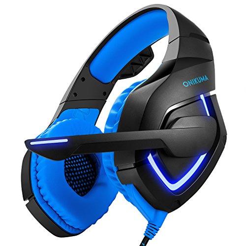 Gaming Headset Professional Stereo USB Gaming Kopfhörer mit LED Leuchten für PS4 PC Xbox One Laptop Mobiltelefone Handy (K1-A, Blau) (Valentinstag-lauter)