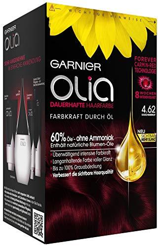 Garnier Haarfarbe (Garnier Olia Haar Coloration Kaschmirrot 4.62 / Färbung für Haare enthält 60% Blumen-Öle für 8 Wochen intensive Farbkraft - Ohne Ammoniak - 3 x 1 Stück)