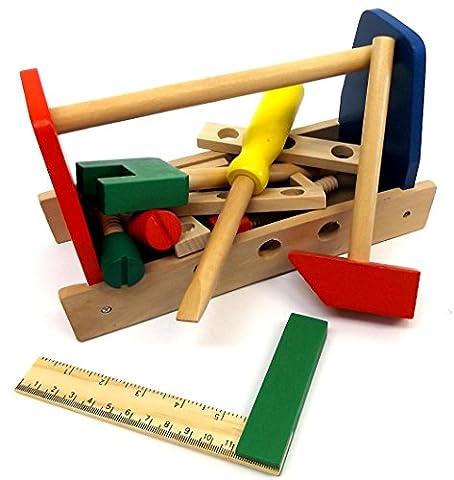 Brigamo 17915 - Holz Werkzeugkasten, Holzspielzeug Werkzeugkoffer mit Schraubenschlüssel,Hammer,Schraubendreher und umfangreichem Zubehör