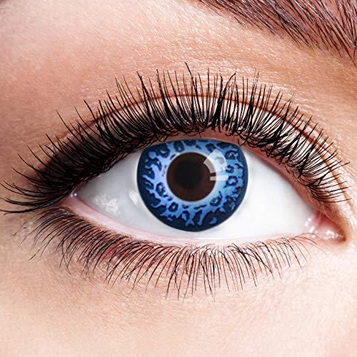 Farbige Kontaktlinsen Blau Ohne Stärke Blaue Crazy Weiche Motiv-Linsen Farbig Halloween Karneval Fasching Cosplay Kostüm Blue Leopard Tier Muster (Spaß Frau Und Kostüme Halloween Mann)